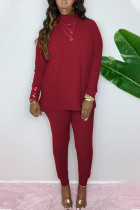 Wine Red Fashion Casual Adult Cotton Solid Split Joint O Neck Long Sleeve Regular Sleeve Regular Two Pieces