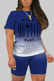 Royal Blue Fashion Casual Gradual Change Letter Print Basic O Neck Short Sleeve Two Pieces