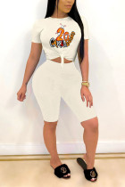 White Polyester Fashion Casual adult Patchwork Print Character Two Piece Suits Straight Short Sleeve Two Pieces