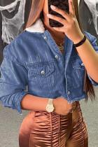 Dark Blue Street Solid Turndown Collar Long Sleeve Skinny Denim