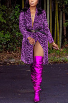 purple cardigan Leopard Print Nylon Print Long Sleeve Outerwear