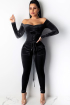 Black Sexy Solid bandage Polyester Long Sleeve one word collar
