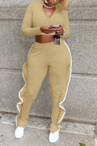 Khaki Casual Sportswear Patchwork Zipper Collar Long Sleeve Two Pieces
