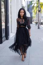 Black Polyester Fashion Sexy Cap Sleeve Long Sleeves Turndown Collar Pleated Ankle-Length lace Polka Dot p
