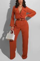 Orange Casual Polyester Solid Pocket V Neck Jumpsuits