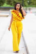 Yellow Polyester Drawstring Sleeveless High Solid ruffle Straight Pants Jumpsuits & Rompers