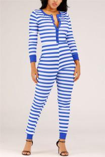 Blue Casual Living Patchwork Print Basic Plus Size Jumpsuits