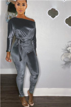 Grey Casual Solid Polyester Long Sleeve one shoulder collar Jumpsuits
