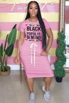 Pink Polyester Fashion adult OL Grey Blue Pink Orange Cap Sleeve Short Sleeves O neck Pencil Dress Knee-Length Print Patchwork Character bandage Dresses