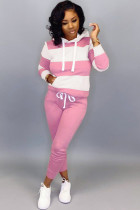 Pink Cotton Sexy Two Piece Suits Striped pencil Long Sleeve