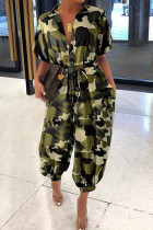 Camouflage Fashion Street Adult Polyester Camouflage Print Frenulum With Belt Turndown Collar Loose Jumpsuits