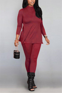 Wine Red Fashion Casual Solid Basic Half A Turtleneck Long Sleeve Two Pieces