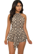 Gold Sexy zipper Coloured drawing Sleeveless O Neck Rompers