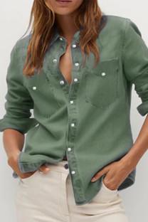 Army Green Street Solid Turndown Collar Outerwear