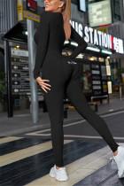Black Casual Living Solid Embroidered V Neck Skinny Jumpsuits