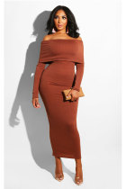 Brown Sexy Off The Shoulder Long Sleeves One word collar Slim Dress Ankle-Length