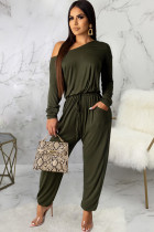 Army Green Sexy Solid Polyester Long Sleeve one shoulder collar