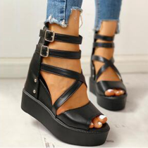 Black Casual Street Hollowed Out Split Joint Opend Out Door Shoes