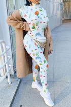 cartoon Sexy Polyester Print Embroidered Zipper Collar Jumpsuits