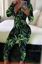Green Fashion Adult Living Print Pants V Neck Skinny Jumpsuits