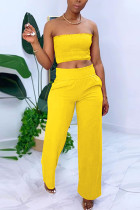 Yellow Chlorine Fashion Casual adult Ma'am Solid Two Piece Suits Straight Sleeveless Two Pieces