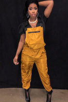 Orange Polyester Elastic Fly Short Sleeve Mid Solid Pocket Straight Pants Jumpsuits & Rompers