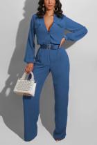 Blue Casual Polyester Solid Pocket V Neck Jumpsuits