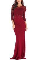 Red Fashion Long Sleeves O neck Slim Dress Floor-Length Patchwork