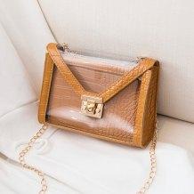 Brown Fashion Casual Patchwork Chain Strap Crossbody Bag