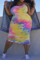 Yellow Sexy Patchwork Tie-dye Spaghetti Strap Pencil Skirt Plus Size Dresses