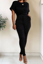 Black Polyester Fashion Casual Patchwork Solid Two Piece Suits pencil Short Sleeve Two Pieces