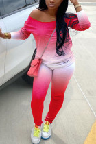 Red Milk Silk Fashion Active adult Ma'am Gradient Two Piece Suits pencil Long Sleeve Two Pieces