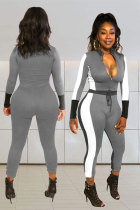 Grey Elastic Fly Mid Patchwork pencil Pants Two-piece suit