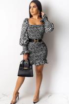 Grey Polyester Sexy lantern sleeve Long Sleeves Square Step Skirt skirt Print Draped stringy selvedge