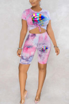 Powder blue Polyester Fashion adult England Ma'am Print Tie Dye Two Piece Suits pencil Short Sleeve Two Pieces