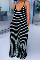 Black Polyester Fashion Casual Black Grey Apricot Orange Light Blue Spaghetti Strap Sleeveless V Neck Swagger Floor-Length Striped Dresses