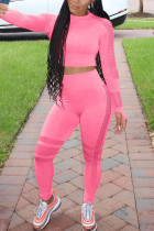 Pink Sportswear Solid O Neck Long Sleeve Two Pieces