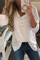 White Turndown Collar Long Sleeve Solid Blouses & Shirts