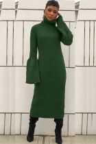 Green Polyester Sexy Bell sleeve Long Sleeves Turtleneck Step Skirt Mid-Calf asymmetrical Solid Patchwork