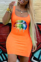 Orange Polyester Sexy Fashion Spaghetti Strap Sleeveless Slip Hip skirt Mini Fluorescent Print Solid Casua