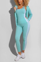 Mint green Polyester Active Solid Straight Two Pieces