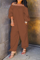 Brown street Solid Polyester Long Sleeve one word collar Jumpsuits