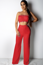 Red Polyester Fashion Sexy Patchwork Solid Lace Trim Casual Two-piece Pants Set