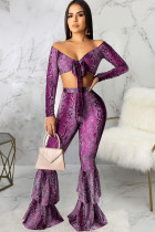 purple Polyester Sexy Print Patchwork Two Piece Suits Boot Cut Long Sleeve Two-piece Pants Set