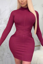 Wine Red Sexy Solid Split Joint O Neck Pencil Skirt Dresses