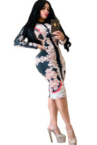 Pink Milk. Europe and America Cap Sleeve Long Sleeves O neck Step Skirt Mid-Calf Patchwork Print chain