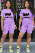 purple Polyester Fashion Active Letter Print Two Piece Suits pencil Short Sleeve Two Pieces