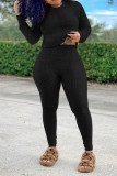 Black Casual Solid O Neck Long Sleeve Two Pieces
