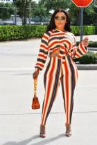 Orange Polyester adult Sexy Fashion Bandage Print Two Piece Suits Striped pencil Long Sleeve