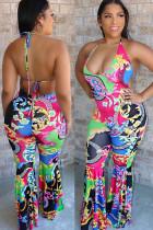 Multi-color Fashion street Print Backless Polyester Sleeveless V Neck Jumpsuits